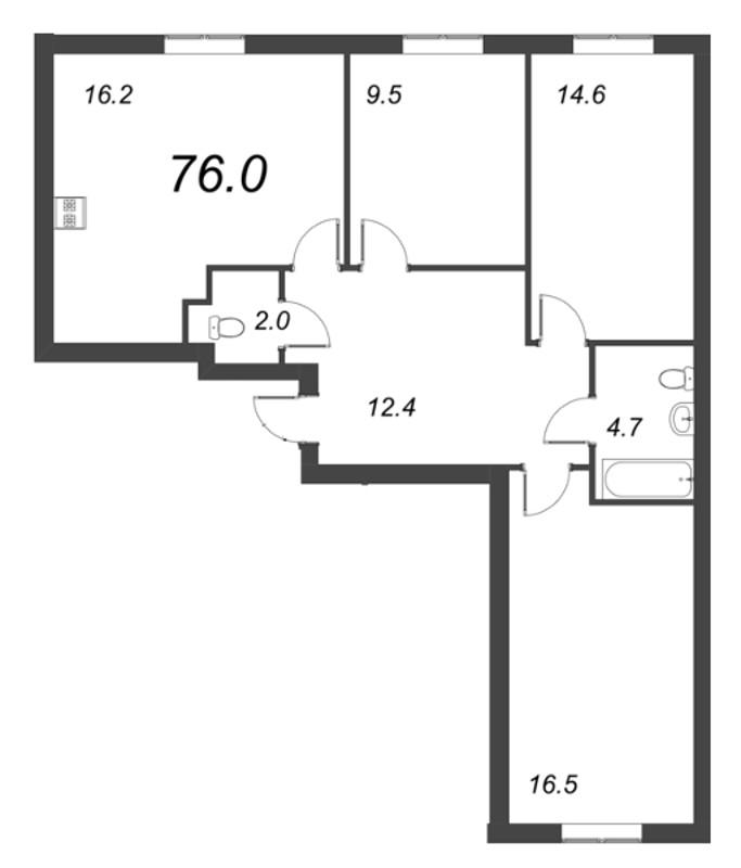 Планировка Трёхкомнатная квартира площадью 76.1 кв.м в ЖК «Ландыши»